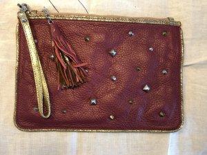 Clutch dark red leather