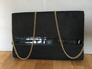 Clutch schwarz kleine Handtasche mit Gold
