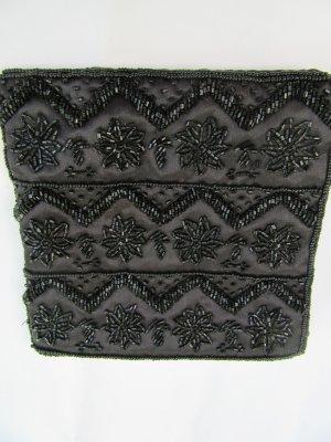 Clutch schwarz Perlen Vintage