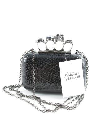 Pochette noir-argenté motif animal style extravagant
