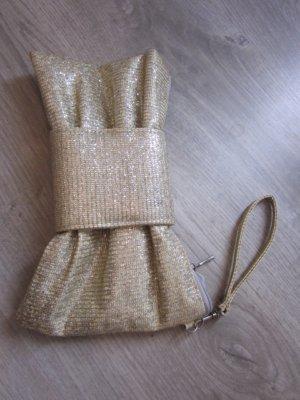 Clutch Tasche Gold mit Schleife Neu aus Barcelona