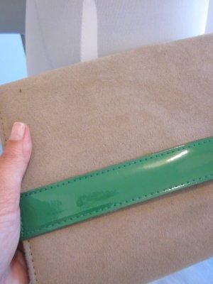 Clutch Umhänge Tasche Beige Grün Neu