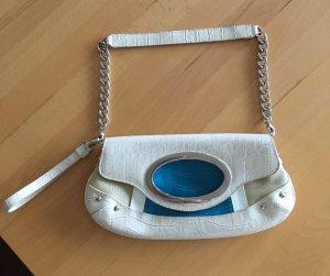 Pic² Borsa clutch blu acciaio-bianco sporco