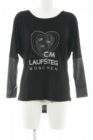 Cm Laufsteg Long Shirt black-silver-colored printed lettering casual look
