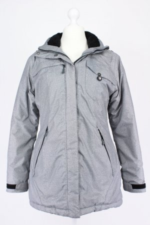 CMP Winterjacke mit Streifenmuster und Kapuze grau Größe 38