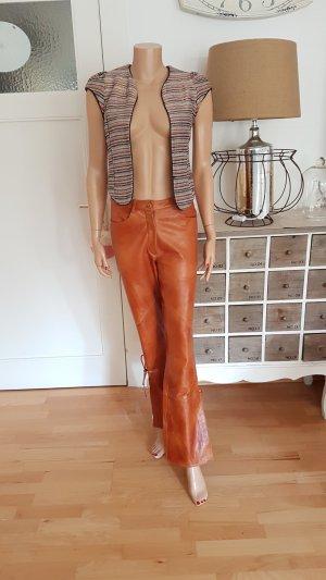 Apart Impressions Leather Trousers cognac-coloured