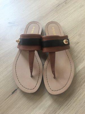 Coach T-Strap Sandals black-brown