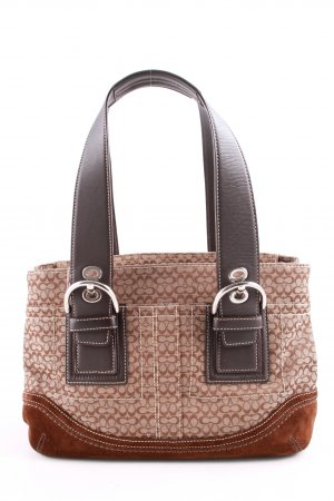 Coach Handtasche braun-schwarz grafisches Muster Business-Look