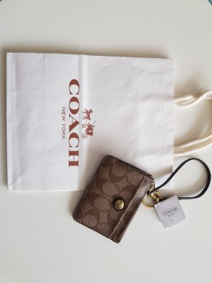 Coach Card Case light brown-brown leather