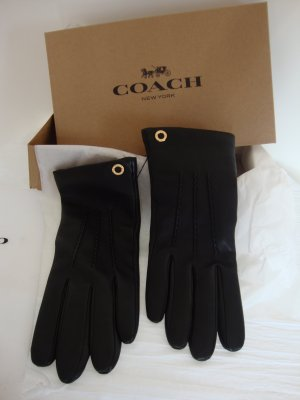 Coach Leather Gloves black-gold-colored leather