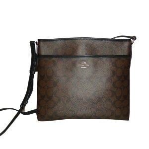 COACH Messenger Bag, Schultertasche, Gemustert, Braun
