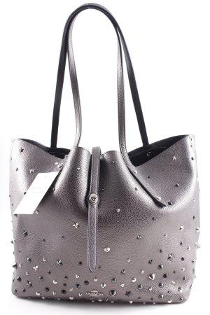 "Coach Shopper ""Market Tote Metallic Leather Star Rivets Silver/Metallic Graphite"""
