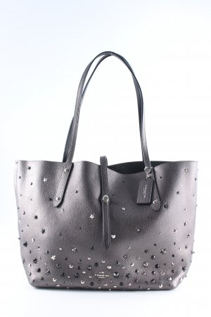 "Coach Shopper ""Market Tote Metallic Leather Star Rivets Silver/Metallic Graphite"""