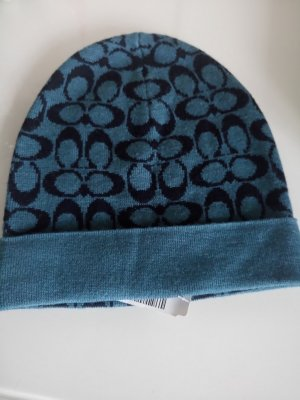 Coach Chapeau en tricot bleu pétrole-bleu foncé tissu mixte