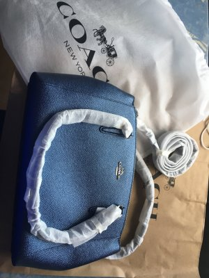 Coach Carry Bag blue-steel blue leather