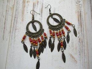 Orecchino a pendente bronzo-rosso scuro