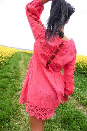 Vestido Hippie rosa-rosa neón Algodón