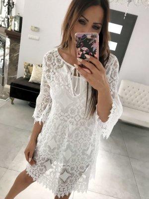 Vestido Hippie blanco-blanco puro Algodón