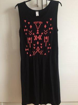 Coachella Kleid Hippie Ethno schwarz orange M