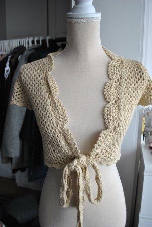 Bolero lavorato a maglia color cammello-beige