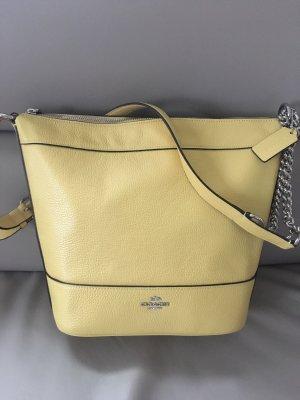 Coach Bolso barrel amarillo pálido Cuero