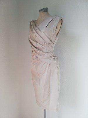 Coast Cocktailkleid creme Gr. UK 10 EUR 38 S M gerafft knielang Kleid Abendkleid