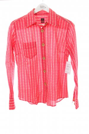 Coast Hemd-Bluse rot-creme abstraktes Muster extravaganter Stil
