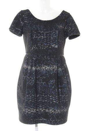 Coast Kurzarmkleid schwarz-dunkelblau abstrakter Druck Elegant