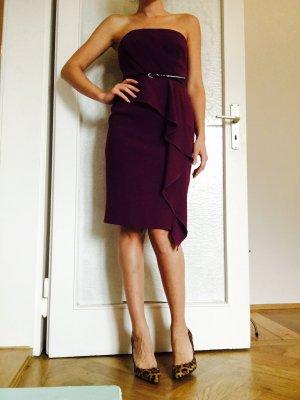 COAST Volant Kleid mit Gürtel in Aubergine