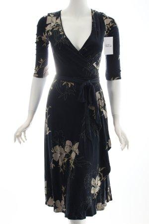 Coast Wickelkleid dunkelblau-hellbeige florales Muster klassischer Stil