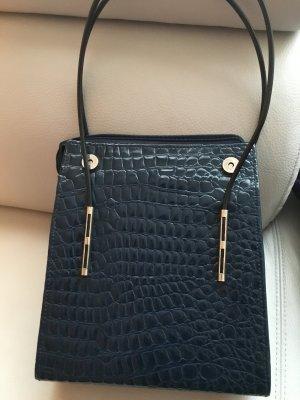 COBACO elegante Lacktasche mit dünnen Henkeln, dunkelblau, guter Zustand