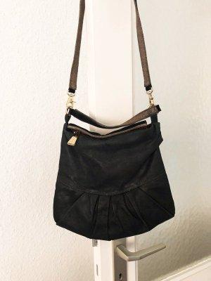 Coccinelle Leder Handtasche in dunkelgrau/anthrazit/schwarz mit Gold