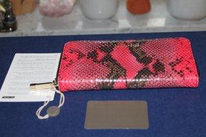 """Coccinelle Portemonnaie / Geldbörse """"Pink Snake""""; Schlangenleder, neu!"""