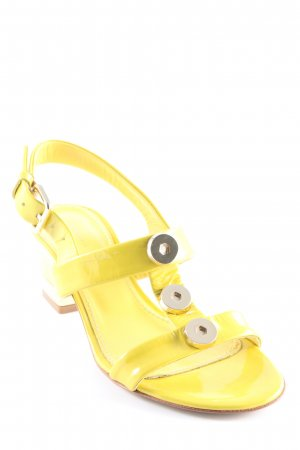 Coccinelle Strapped High-Heeled Sandals lime yellow wet-look