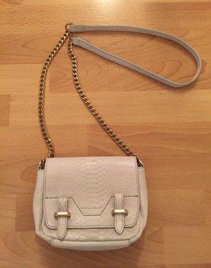 COCCINELLE Tasche Clutch Ketten Bag Kroko Echtleder Leder weiß grau Gold