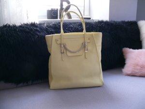 Coccinelle Zarte Gelb Leder Shopper Handtasche Gold Harware Staubbeutel