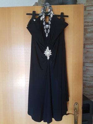 Faust Paris Vestido de cuello Halter negro-color plata