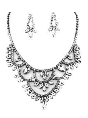 Cocktail Ball Hochzeit Brautschmuck Schmuckset Set Kette Collier Necklace Lange Ohrringe Anhänger Kristall Klar Transparent