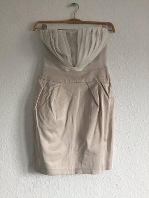 Cocktail Kleid beige weiß kurz ohne Träger