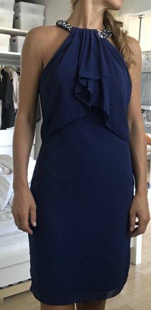 Cocktail Kleid in blau mit Collierkragen Gr. 38