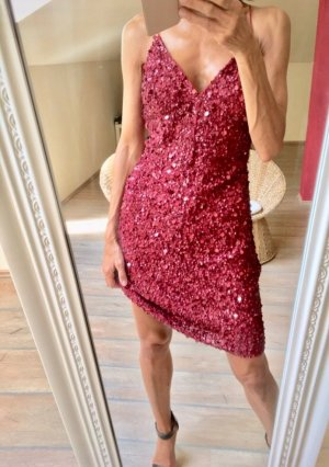 Cocktail Kleid Pailletten #Bordeaux Rot wie neu !