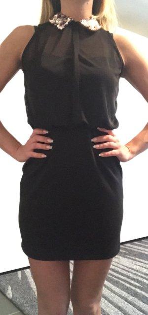 Cocktail Kleid schwarz Paillettenkragen