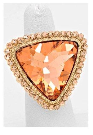 Cocktail Ring Elastik Stretch Dehnbar Kristall Peach Pfirsich Apricot Abricot 3,3 cm Durch