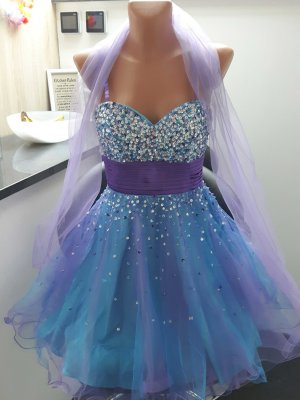 cocktailkleid abendkleid festliches kleid  glitzer luxuar besonderer anlass lila türkis blau