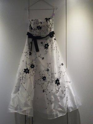 Cocktailkleid Ballkleid Hochzeitskleid weiß mit schwarzen Bluemenmuster aus Perlen