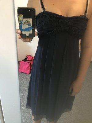 Cocktailkleid, dunkelblau mit Blumen, 36