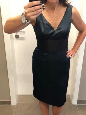 Cocktailjurk zwart-donkergroen Polyester