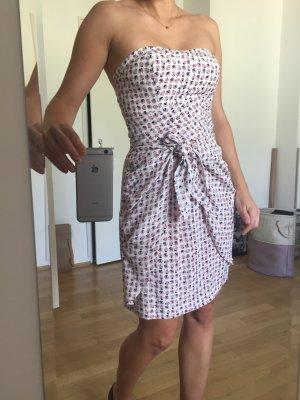 Cocktailkleid Kleid Bandeau mit kleinen rosa-lenzianblauen Blümchen von Club Monaco