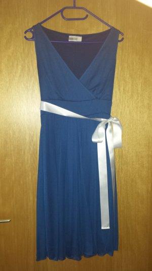 Cocktailkleid Kleid mit Schleife blau
