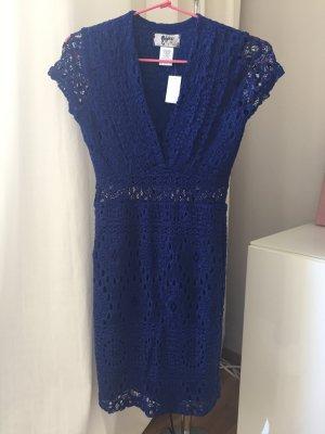 Cocktailkleid Kleid Spitze transparente Taille saphir-blau Gr. XS NEU